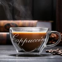 Transparent double wall coffee glass