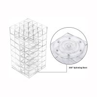 Clear Lipstick Tower, 360 Rotating Cosmetic Organizer with 64 Slots Lipgloss Storage Display Holder thumbnail image