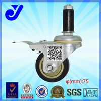 JY-305|360 degree rotation wheel|With brake castors|Inserted heavy duty caster