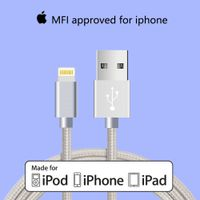 Wholesale 10 MFi lightning cable nylon braided charge cable
