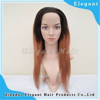 New arrival virgin human hair ombre yaki lace front wig
