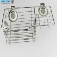 New arrival stainless steel wire suction cup wall mounted corner basket with hooks thumbnail image