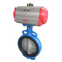 """4inch 10"""" Cast Iron wafer pneumatic actuator butterfly valve with pneumatic actuator"""