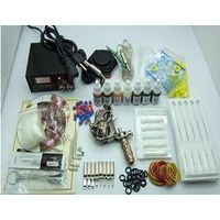Tattoo Kit 1 Gun Machine With Power Supply Empaistic Grips Back Stem Tube 7 Color Ink Needles