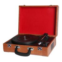 Portable Suitcase Retro Phono Vinyl Record Turntable Player with Bluetooth thumbnail image