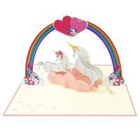 Series Handmade Custom Love unicorn couple Pop Up Card Handmade Wedding greeting Card 3D Pop up card thumbnail image