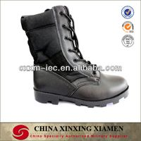 Military Black Genuine Leather Combat Boots with oxford fabric upper