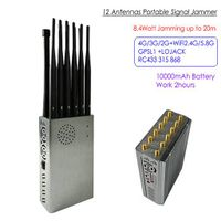 121A-12A 12 Antennas Portable Signal Jammer,Total 8.4Watt, Distance Up to 20m, Battery Time 2hours thumbnail image