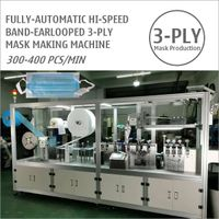 High-Speed Band-Earlooped 3-Ply Medical Surgical Face Mask Making Machine