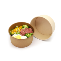 Durable Disposable Brown Paper Kraft Grease Proof Bowl for Soup with Secure Lid