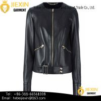 New Style Lady's True Leather Jacket with Zipper Fashion
