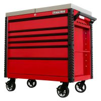 Extreme Tools 41-in 6 Drawer Stainless Steel Sliding Top Deluxe Tool Cart with Bumpers, Red with Bla thumbnail image