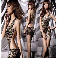 Sexy Women's Leopard Print Lingerie Underwear Panther Print Sleep Wear Mini Dress