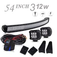 54 Inch 312W Curved Bumper Roof Offroad LED Light Bar W/Rocker Switch Wiring Harness + 2PCS 4 Inch 1 thumbnail image