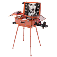 High quality professional trolley rose gold makeup station makeup case with lights mirror
