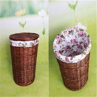 Handmade wicker laundry basket with lid