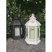 WHITE/BLACK METAL LANTERN WITH PLASTIC CANDLE, YELLOW FILCKER, ON/OFF SWITCH, POWERED BY 3XAAA thumbnail image