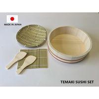 Makizushi Sushi Party Set Handmade Rice Barrel Wooden Cooking Paddle Bamboo Mat Made in Japan thumbnail image