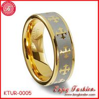 Golden Cross Tungsten Ring, Two Tone Gold Plated Ring, Wedding Ring, Tungsten Ring Wholesale thumbnail image