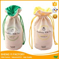 Round bottom cotton canvas drawstring candy Tea bag wholesale
