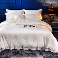 100% cotton bedding set luxury lace princess Embroidery Duvet cover set