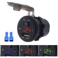 12v Waterproof Digital Voltage Display 5v/2.4a Car Panel Mount Usb Charger With Switch