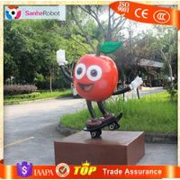 Shop Decor Fresh Fruit H=1.5m Fiberglass Fruit Apple Sculpture