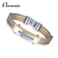 Wholesale Mens Stainless Steel Twisted Cable Wire Bangle Bracelet with Cubic Zirconia Cross