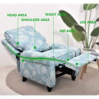 Manual reclining chair, padded seat, single fabric sofa (blue) thumbnail image