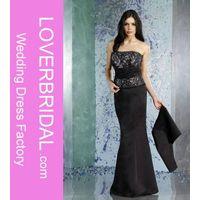 Sheath Straight Neckline Strapless with Lace Applique Floor Length Zipper Taffeta mother dress thumbnail image