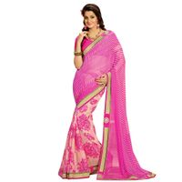 Shonaya Violet Colour Georgette Patch work Sarees With Blouse PieceSGLHR-4822