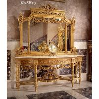 Italian 19th century Louis XVI style carved and gilt wood grand console with mirror