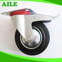 Iron Body Rubber Wheel Caster With Brake thumbnail image