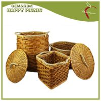 Wooden chip jute handle storage basket