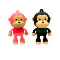 PVC Rubber Novelty Monkey Shaped Flash Memory USB 2.0 OEM Logo For Promotions