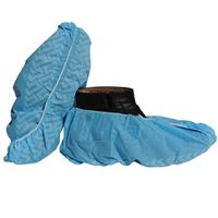 disposable shoe protection dispenser pp/pe/cpe printed blue shoe covers
