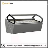 Curved Glass Front Commercial Ice Cream Freezer for Sale