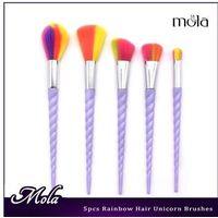 Hot sale on amazon purple hair high quality custom logo makeup brush 5pcs makeup brush