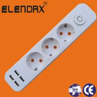 3 way extension socket with four USB port thumbnail image