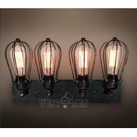 black iron cage wall socnce lamp vintage industrial rustic lighting flush mounted