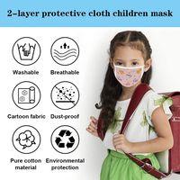 Reusable Kids Mask, 4 Pcs Fashionable Children Fabric Washable Cotton Mask for Age 4-12 thumbnail image