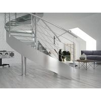 Stainless steel curved glass staircase
