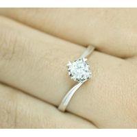 Synthetic diamond ring with large white loose diamond and popular design