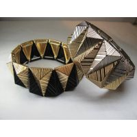 Metal gold mixed black glamorous bracelets fashion jewelry Trendy 2 color