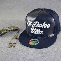 Hot Sale Custom Flat Brim Bill PU Leather Hip Hop Snapback Cap Hats