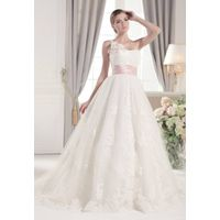 One lace shoulder with flower pleated bodice empire pink waist A-line lace applique wedding dress wi