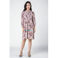 Gaoping Wenqiong G1637 patern printed linen long sleeve women dress