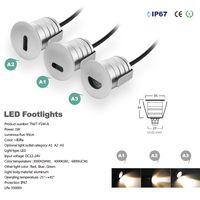 1W LED Step lighting Outdoor Step Lamp 12V 24V IP67 Mini LED Recessed Floor Deck light Waterproofr