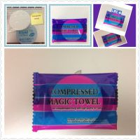100% Cotton Compressed Magic Towel, Nonwoven Towel, White Color