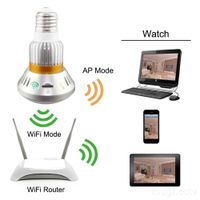Wireless Hidden Bulb-shape IP Camera with Invisible IR Light at night